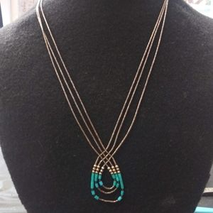 925 Sterling Silver Vintage Necklace w Turquoise